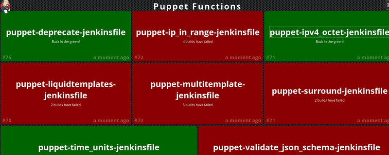 Screen shot of the Jenkins Build Monitor Plugin. Lots of green and red boxes