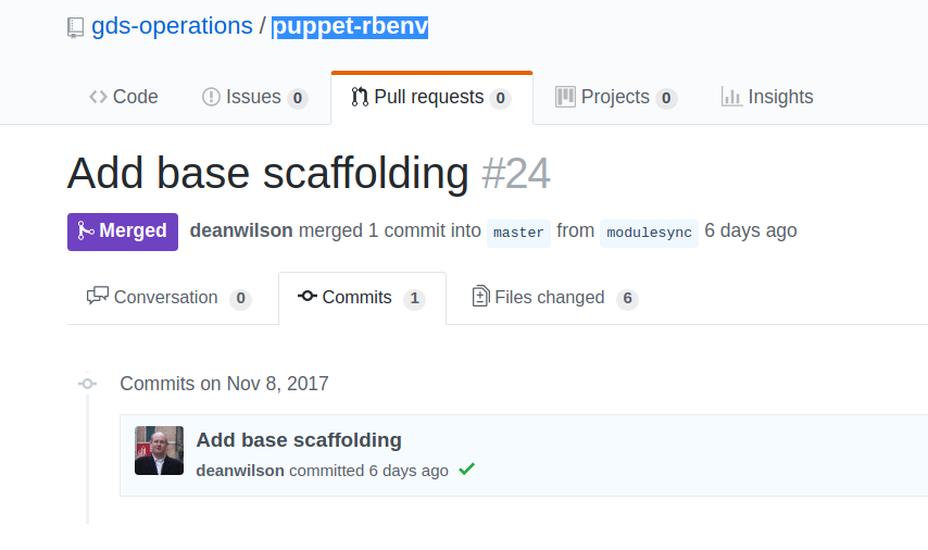 Screen shot of GitHub pull request from modulesync change